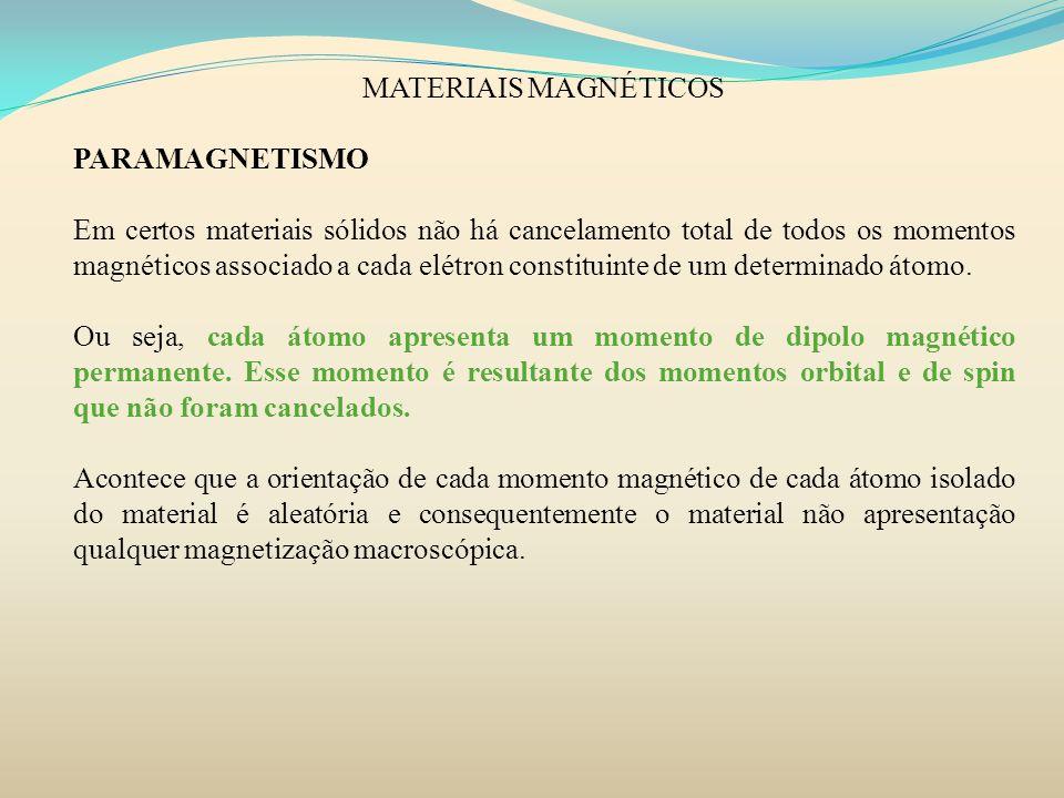 MATERIAIS MAGNÉTICOS PARAMAGNETISMO.