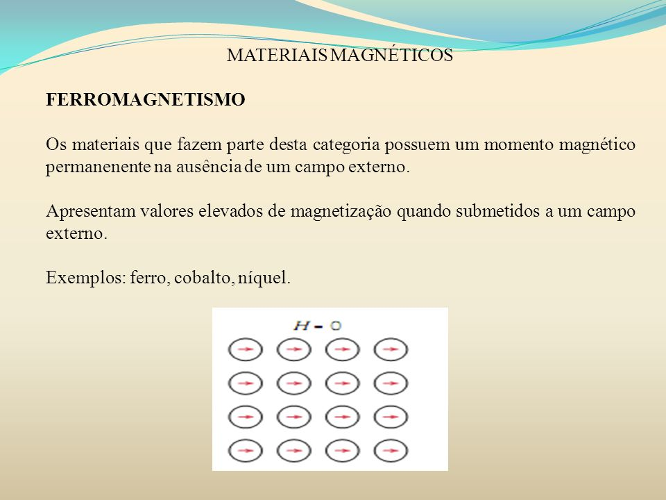 MATERIAIS MAGNÉTICOS FERROMAGNETISMO.