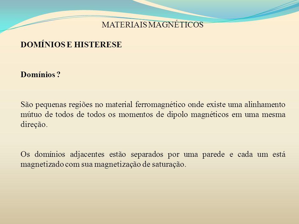 MATERIAIS MAGNÉTICOS DOMÍNIOS E HISTERESE. Domínios