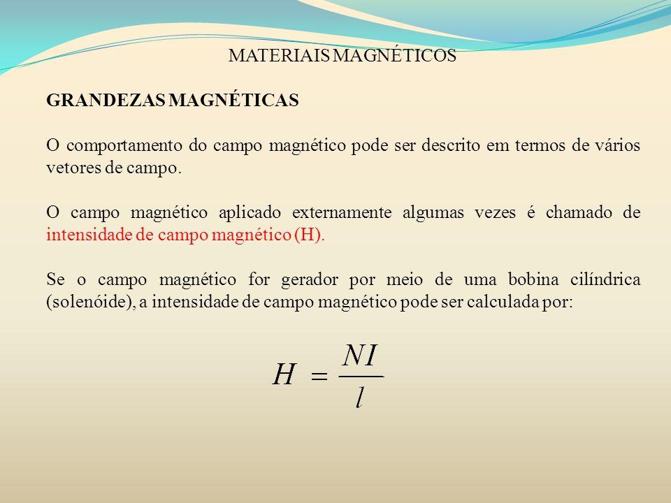 MATERIAIS MAGNÉTICOSGRANDEZAS MAGNÉTICAS. O comportamento do campo magnético pode ser descrito em termos de vários vetores de campo.