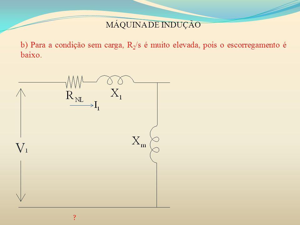 MÁQUINA DE INDUÇÃO b) Para a condição sem carga, R2/s é muito elevada, pois o escorregamento é baixo.
