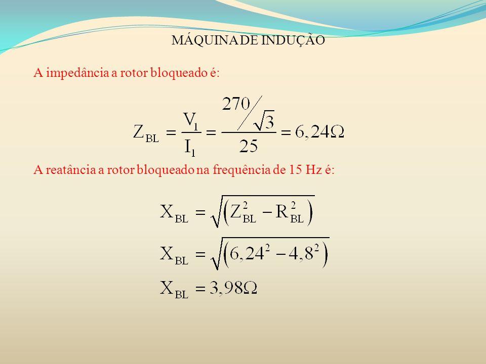 MÁQUINA DE INDUÇÃO A impedância a rotor bloqueado é: A reatância a rotor bloqueado na frequência de 15 Hz é: