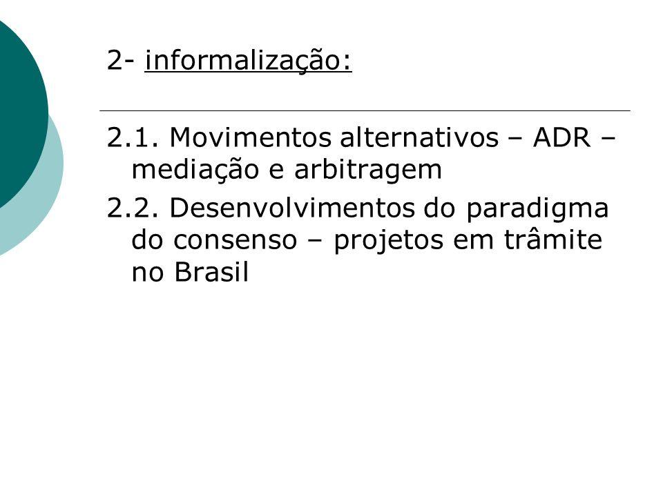 2- informalização: 2.1. Movimentos alternativos – ADR – mediação e arbitragem.