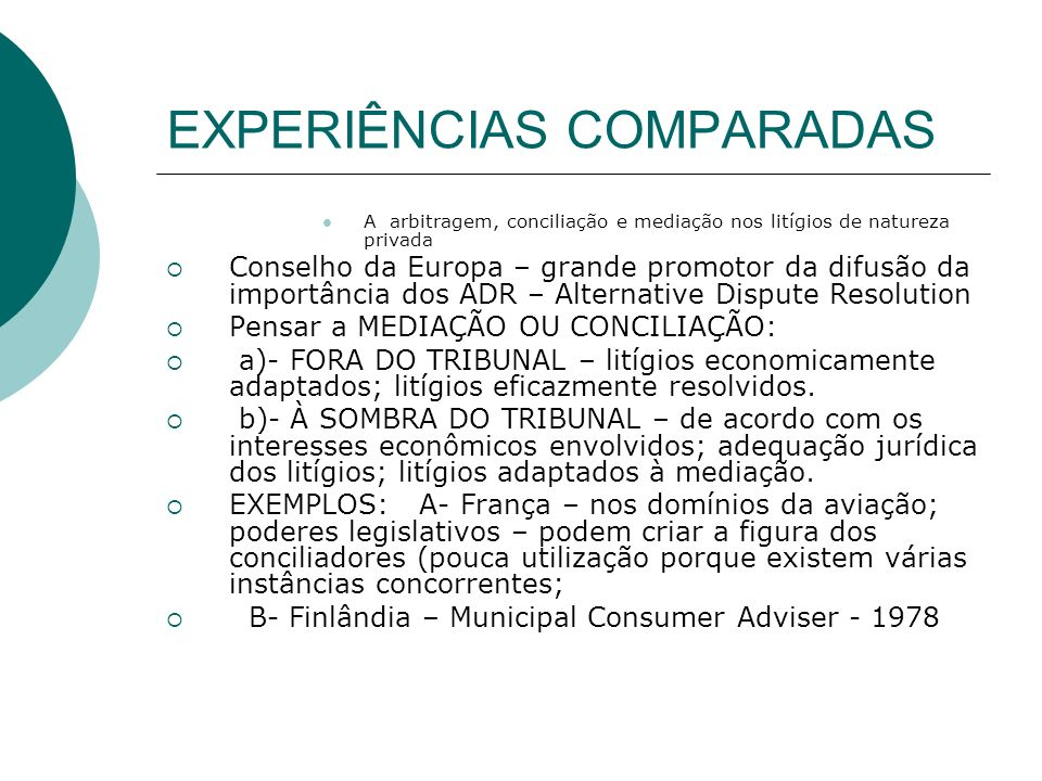 EXPERIÊNCIAS COMPARADAS