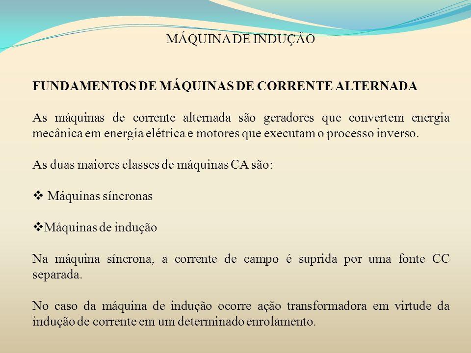 MÁQUINA DE INDUÇÃO FUNDAMENTOS DE MÁQUINAS DE CORRENTE ALTERNADA.