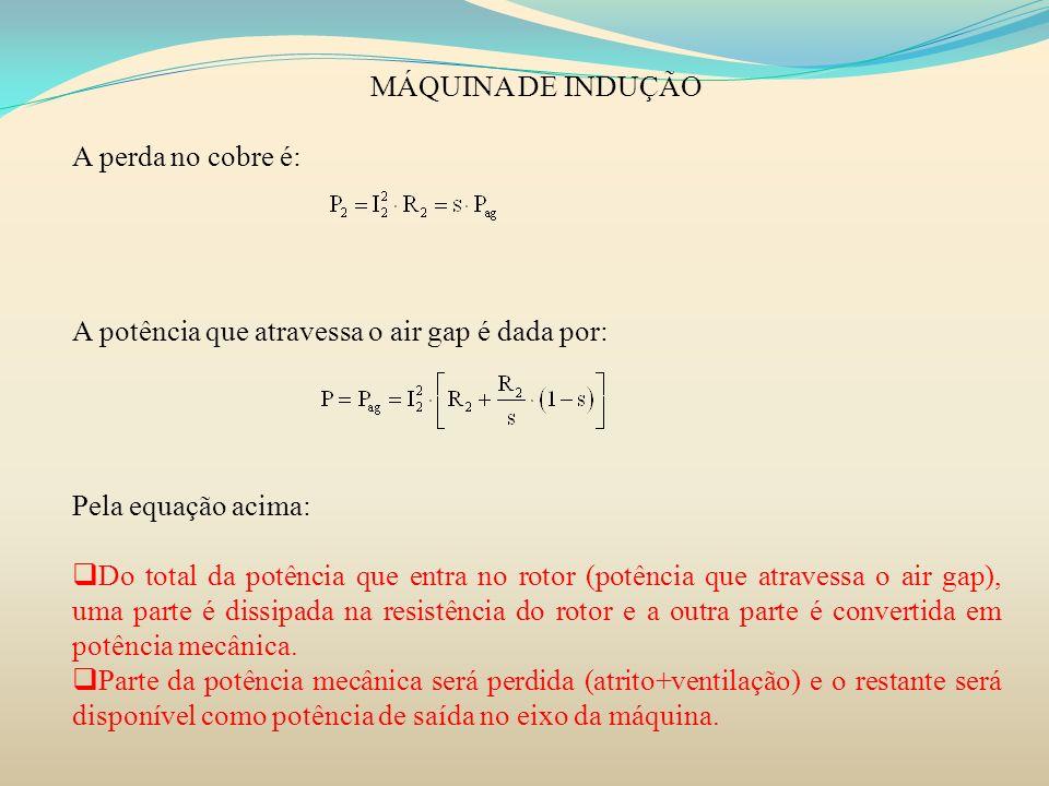 MÁQUINA DE INDUÇÃO A perda no cobre é: A potência que atravessa o air gap é dada por: Pela equação acima: