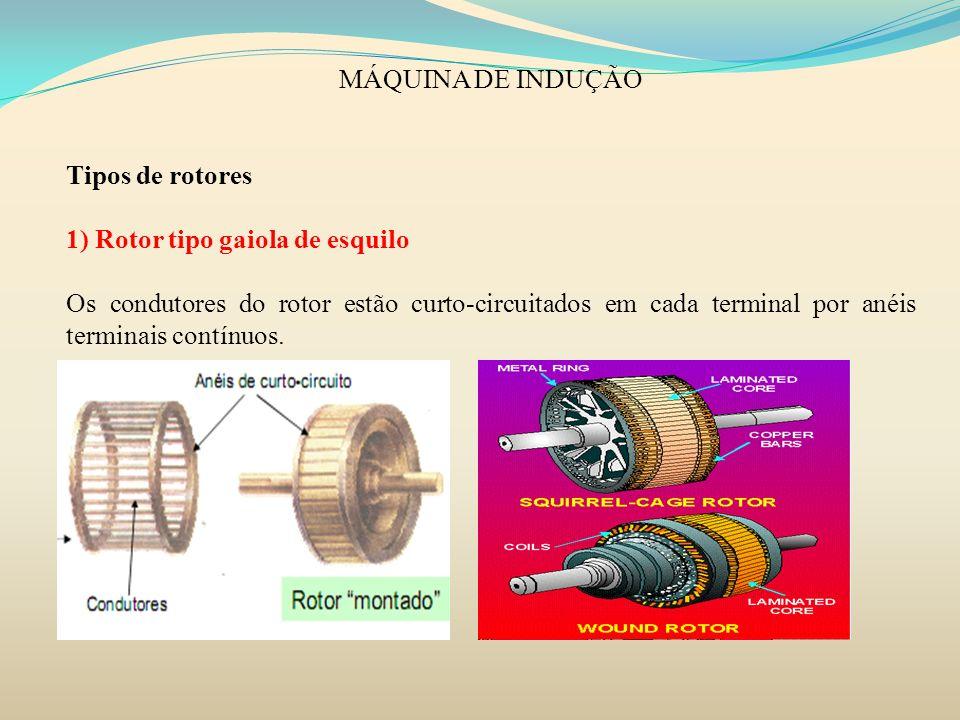 MÁQUINA DE INDUÇÃO Tipos de rotores. 1) Rotor tipo gaiola de esquilo.