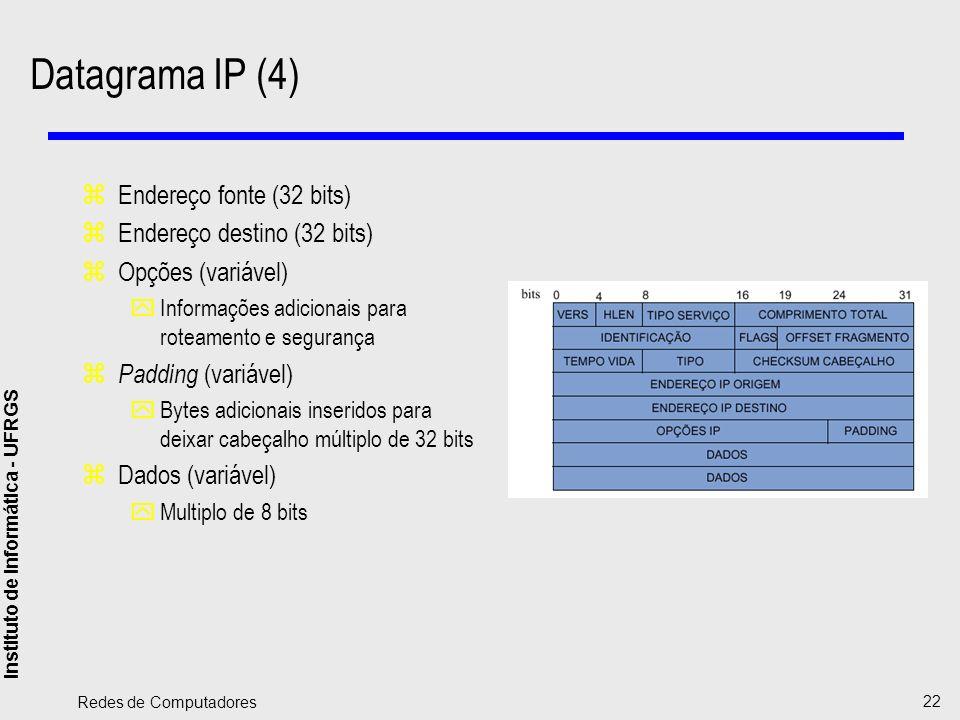 Datagrama IP (4) Endereço fonte (32 bits) Endereço destino (32 bits)