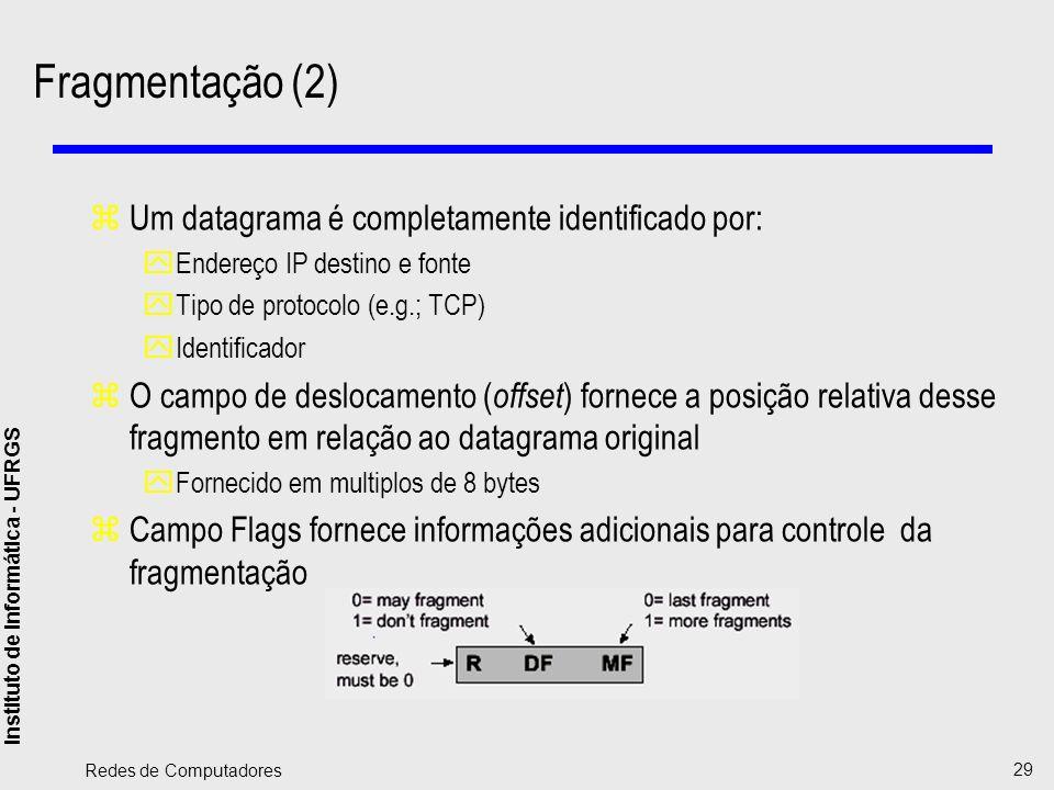 Fragmentação (2) Um datagrama é completamente identificado por: