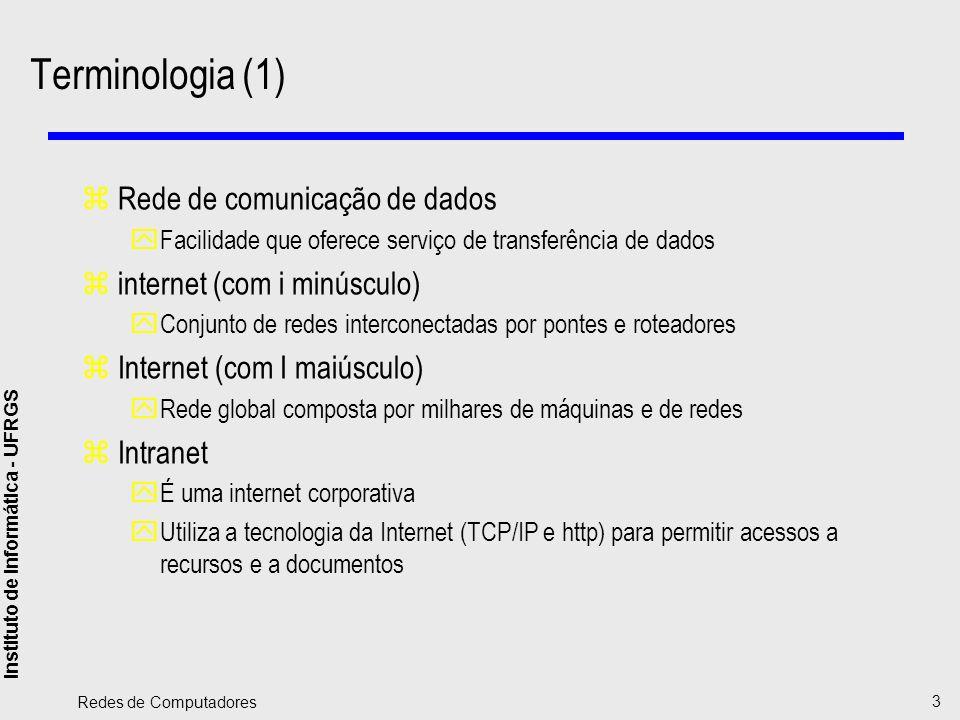 Terminologia (1) Rede de comunicação de dados