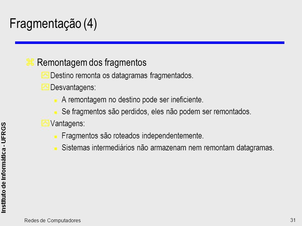 Fragmentação (4) Remontagem dos fragmentos