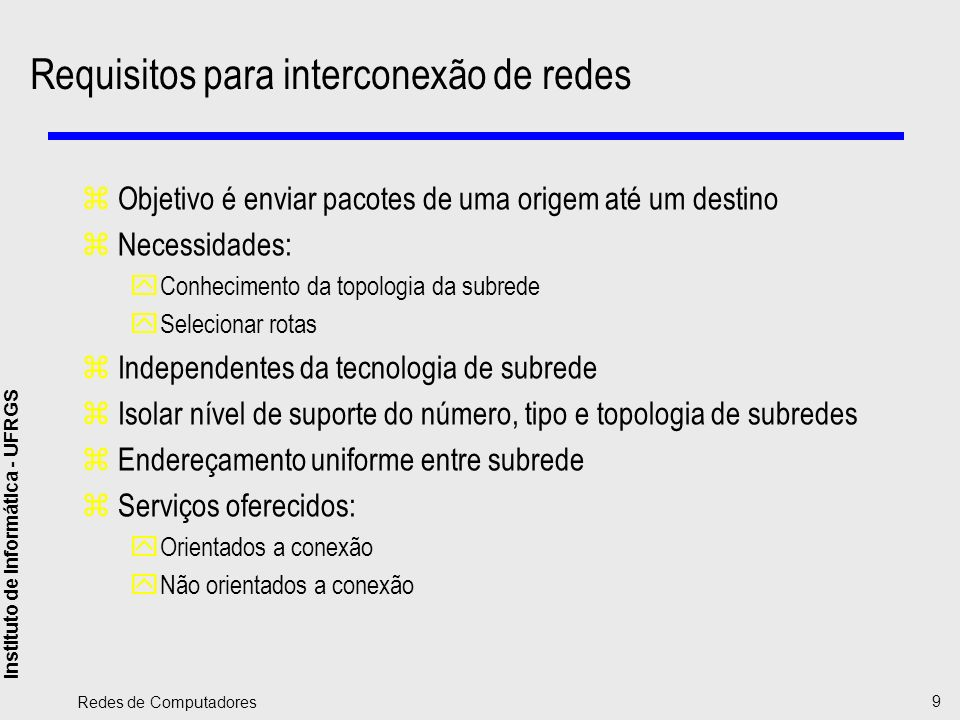 Requisitos para interconexão de redes