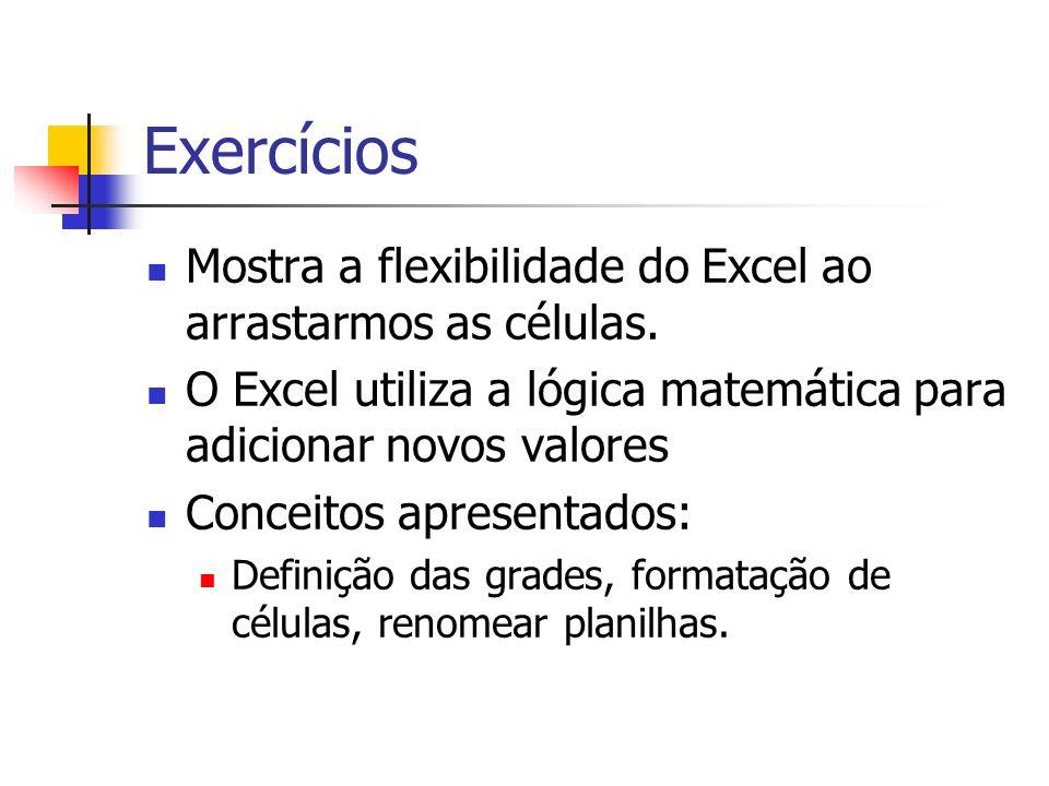 Exercícios Mostra a flexibilidade do Excel ao arrastarmos as células.