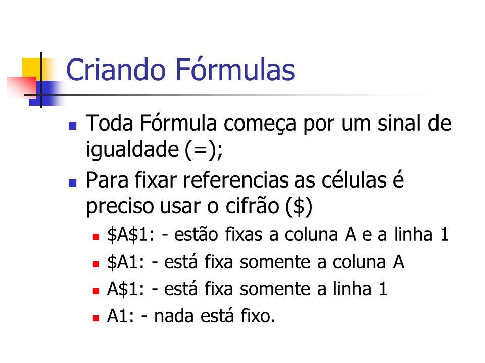 Criando Fórmulas Toda Fórmula começa por um sinal de igualdade (=);