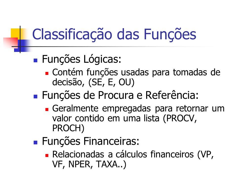 Classificação das Funções