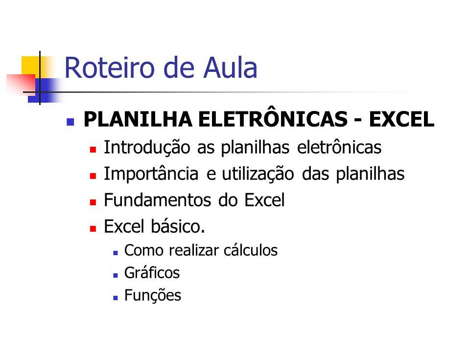 Roteiro de Aula PLANILHA ELETRÔNICAS - EXCEL