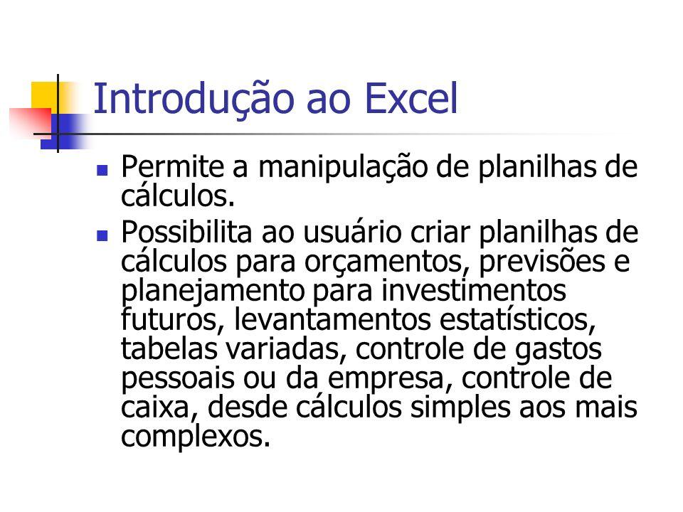 Introdução ao Excel Permite a manipulação de planilhas de cálculos.