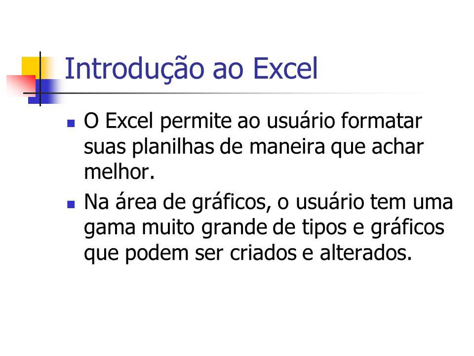 Introdução ao Excel O Excel permite ao usuário formatar suas planilhas de maneira que achar melhor.
