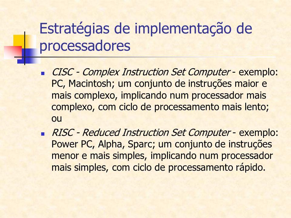 Estratégias de implementação de processadores