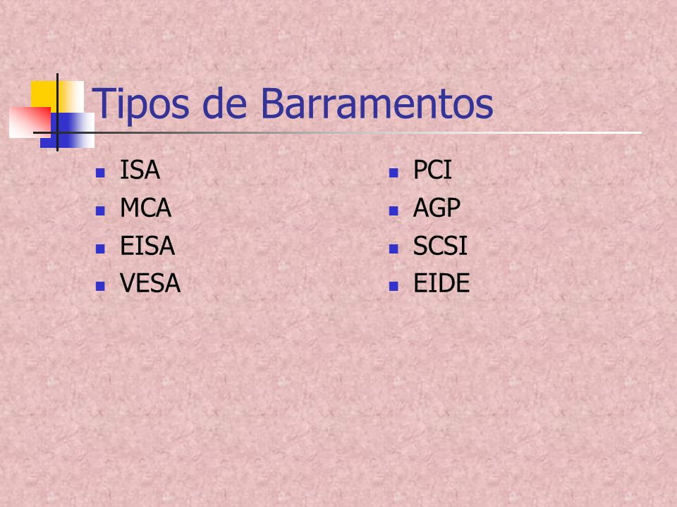 Tipos de Barramentos ISA MCA EISA VESA PCI AGP SCSI EIDE