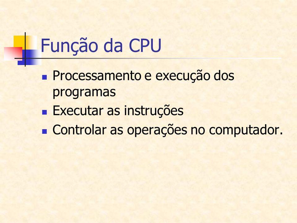 Função da CPU Processamento e execução dos programas