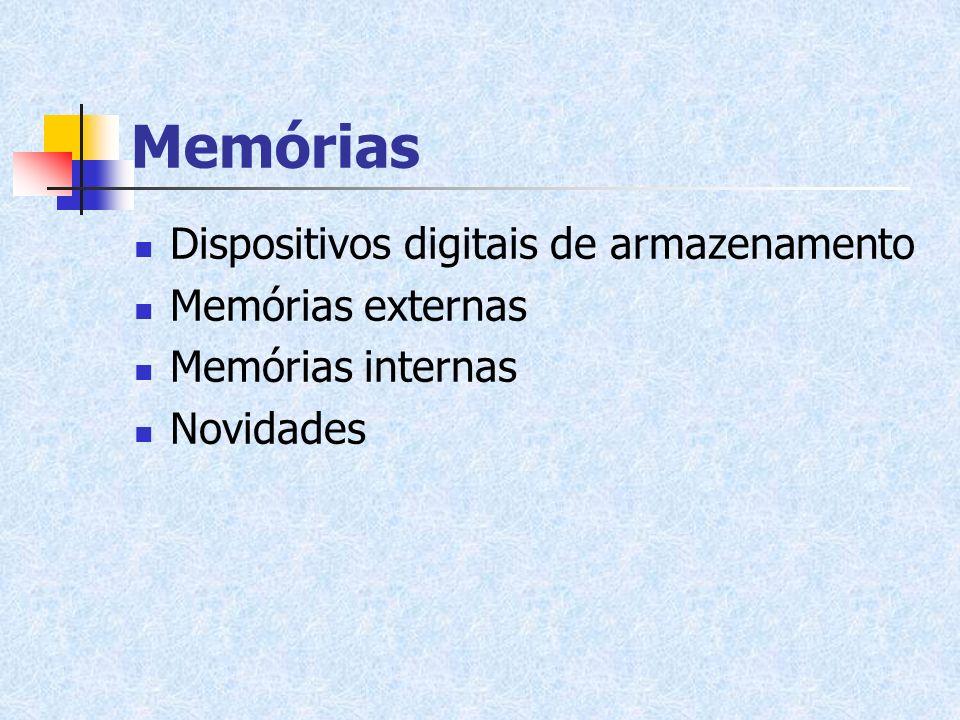 Memórias Dispositivos digitais de armazenamento Memórias externas