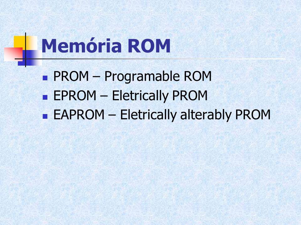 Memória ROM PROM – Programable ROM EPROM – Eletrically PROM