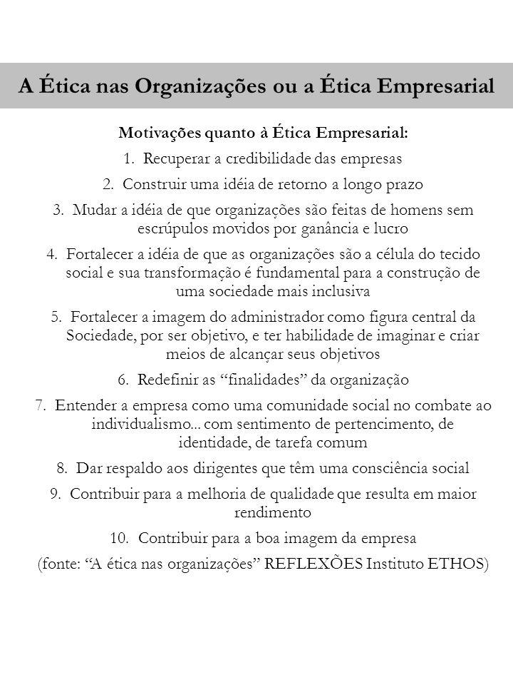 A Ética nas Organizações ou a Ética Empresarial