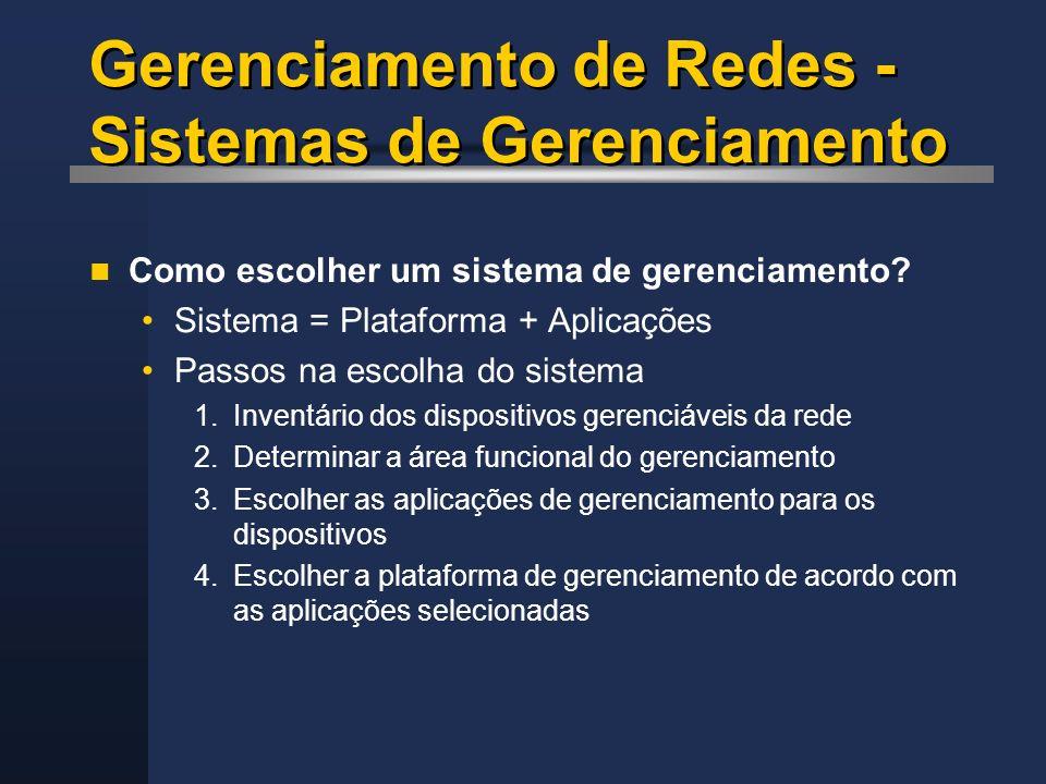 Gerenciamento de Redes - Sistemas de Gerenciamento
