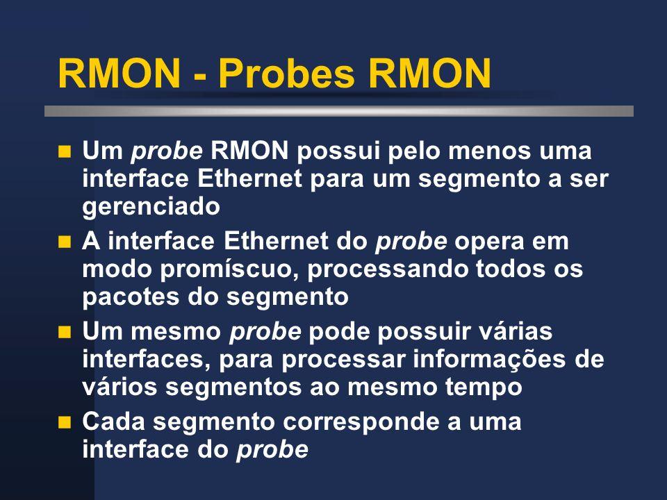 RMON - Probes RMON Um probe RMON possui pelo menos uma interface Ethernet para um segmento a ser gerenciado.