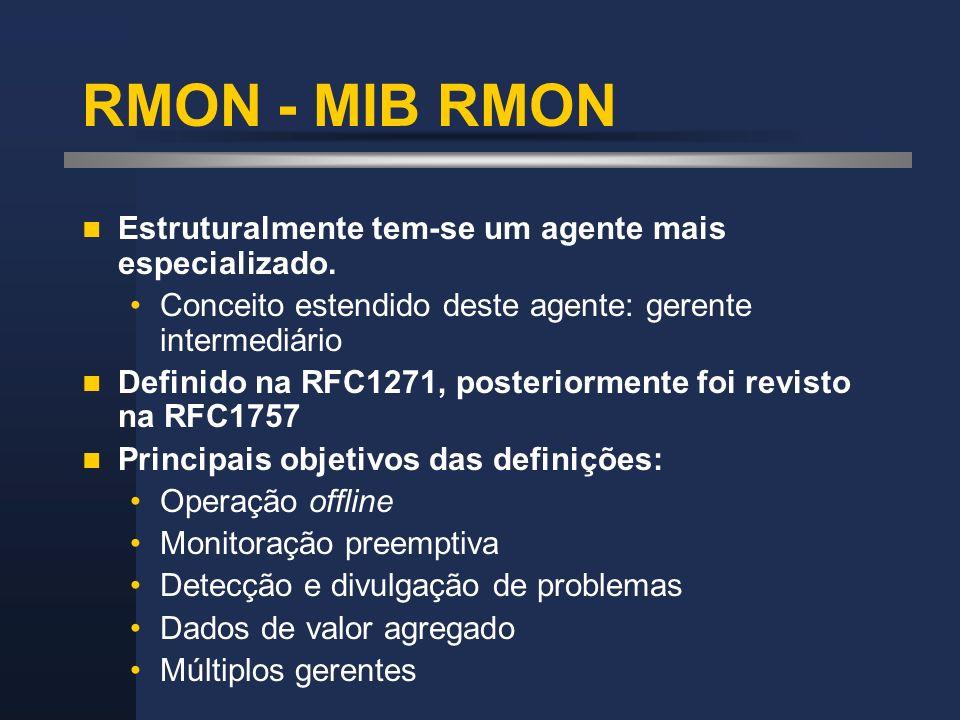 RMON - MIB RMON Estruturalmente tem-se um agente mais especializado.