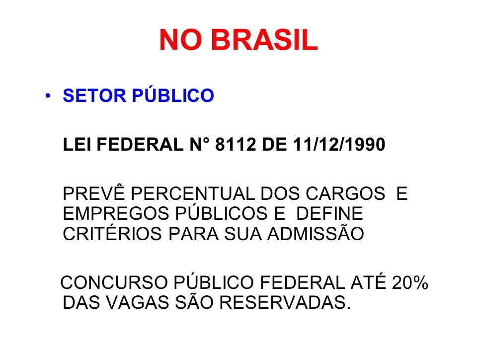 NO BRASIL SETOR PÚBLICO LEI FEDERAL N° 8112 DE 11/12/1990