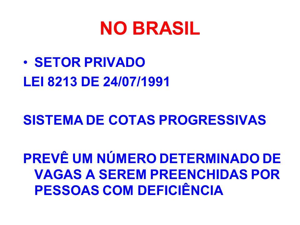 NO BRASIL SETOR PRIVADO LEI 8213 DE 24/07/1991