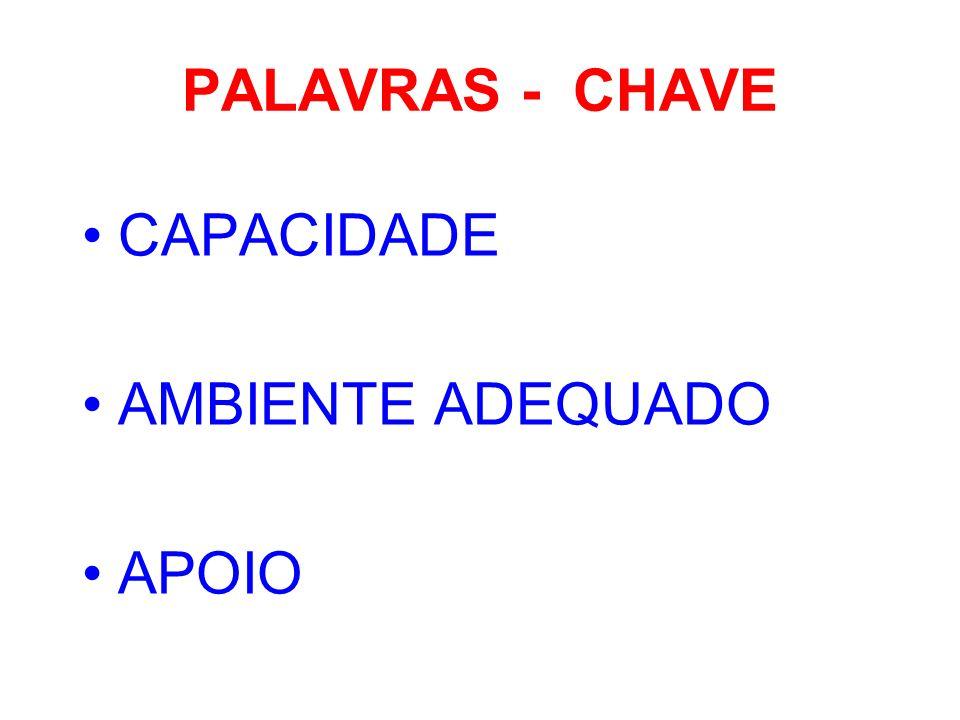 PALAVRAS - CHAVE CAPACIDADE AMBIENTE ADEQUADO APOIO