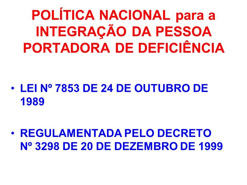POLÍTICA NACIONAL para a INTEGRAÇÃO DA PESSOA PORTADORA DE DEFICIÊNCIA