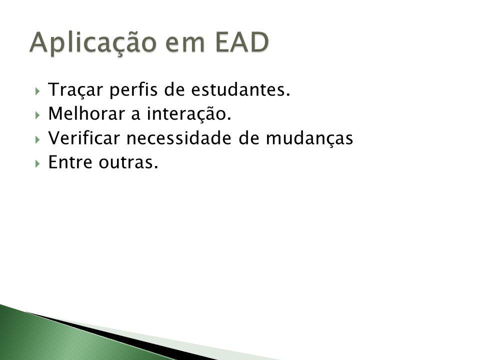 Aplicação em EAD Traçar perfis de estudantes. Melhorar a interação.