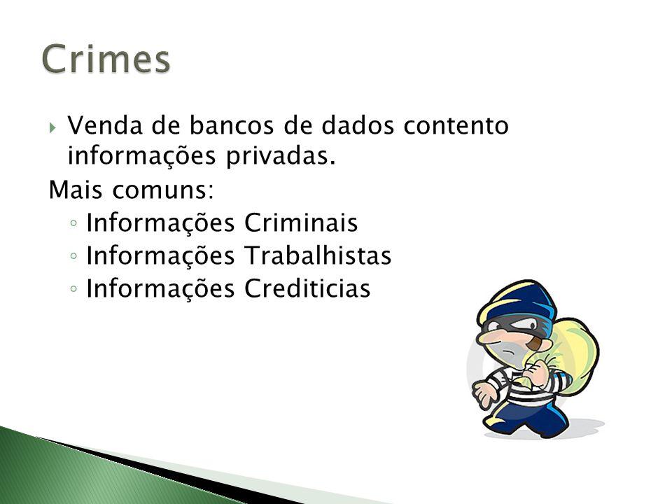 Crimes Venda de bancos de dados contento informações privadas.