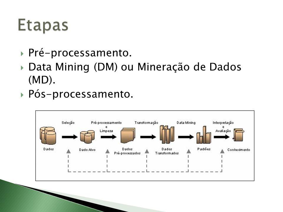 Etapas Pré-processamento. Data Mining (DM) ou Mineração de Dados (MD).