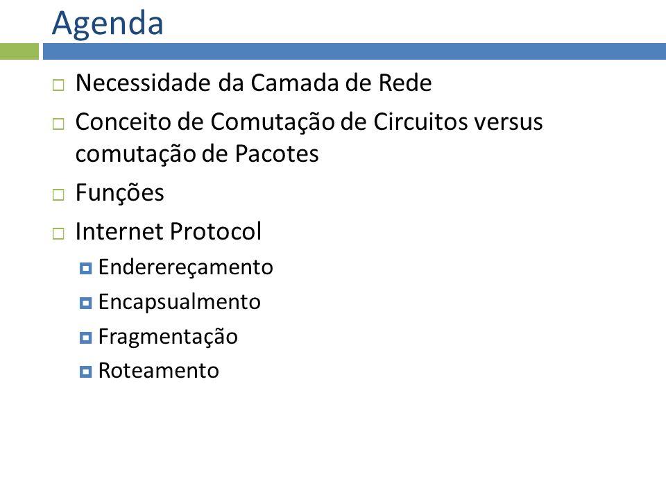 Agenda Necessidade da Camada de Rede