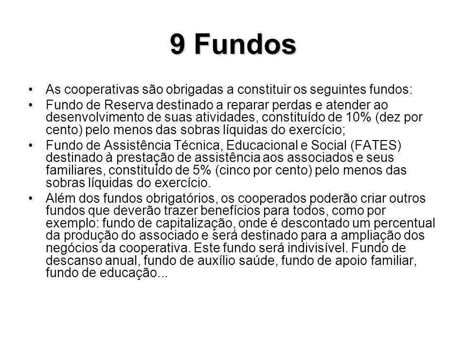 9 Fundos As cooperativas são obrigadas a constituir os seguintes fundos: