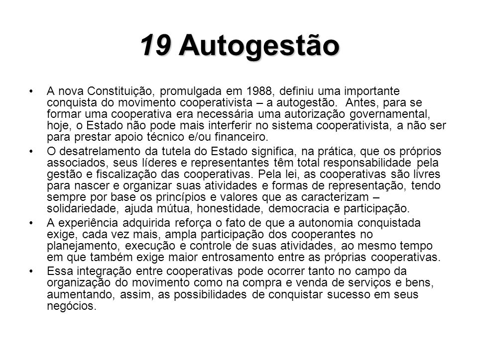 19 Autogestão