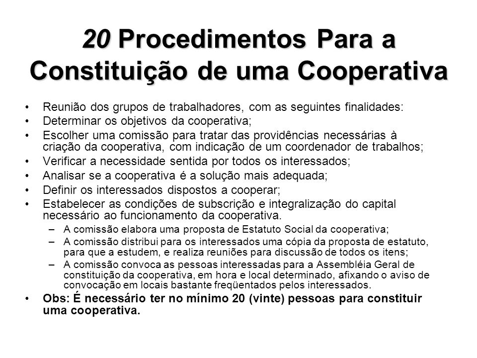 20 Procedimentos Para a Constituição de uma Cooperativa