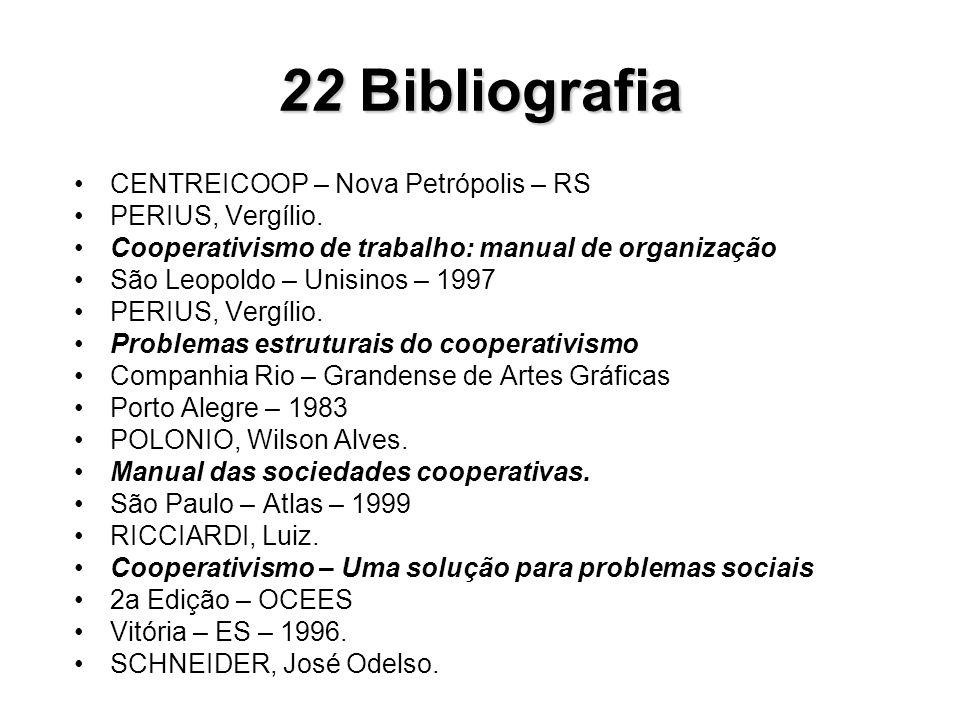 22 Bibliografia CENTREICOOP – Nova Petrópolis – RS PERIUS, Vergílio.