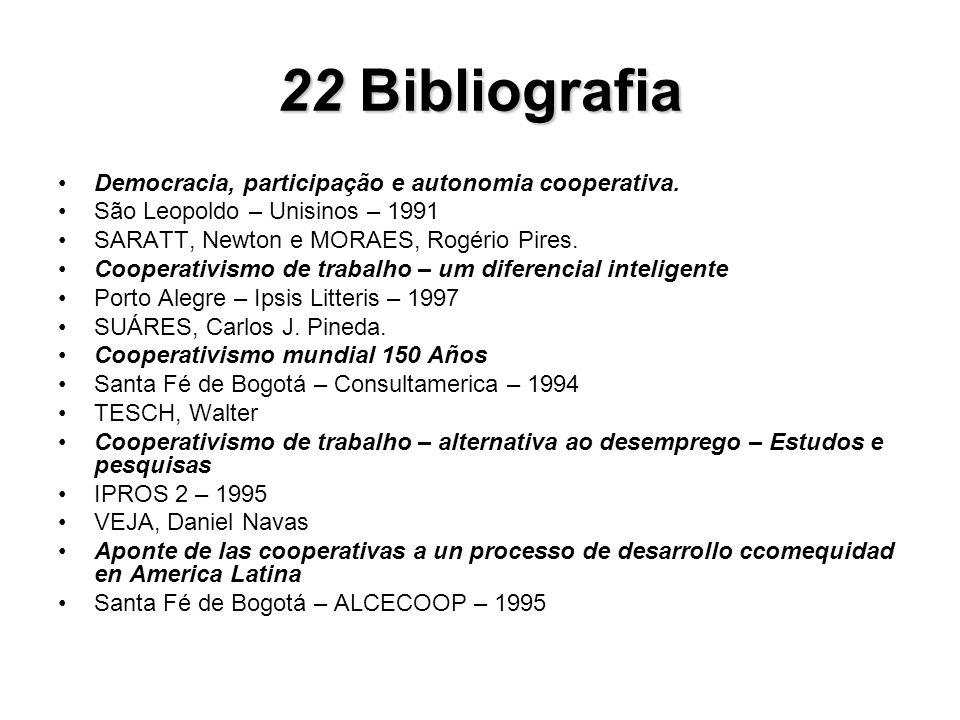22 Bibliografia Democracia, participação e autonomia cooperativa.