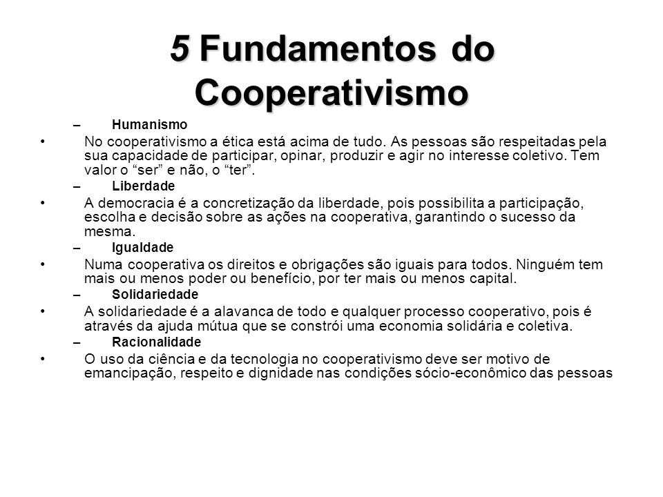 5 Fundamentos do Cooperativismo