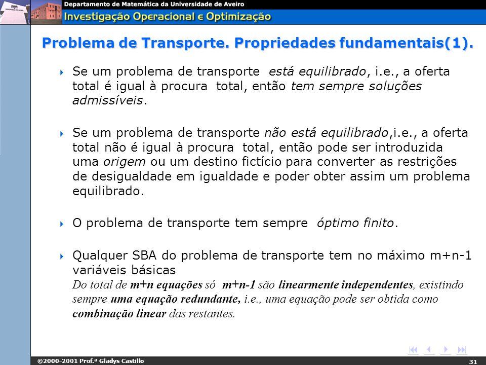 Problema de Transporte. Propriedades fundamentais(1).