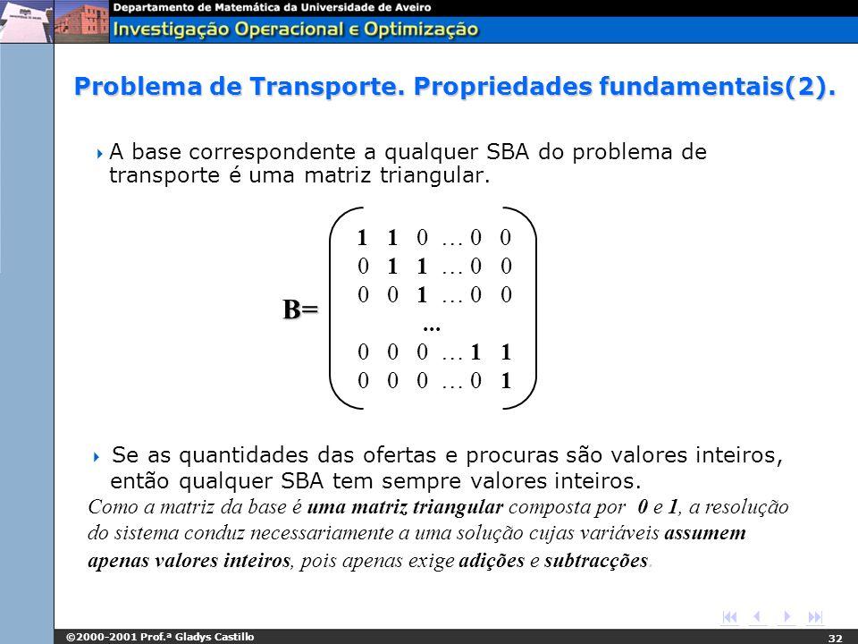 Problema de Transporte. Propriedades fundamentais(2).