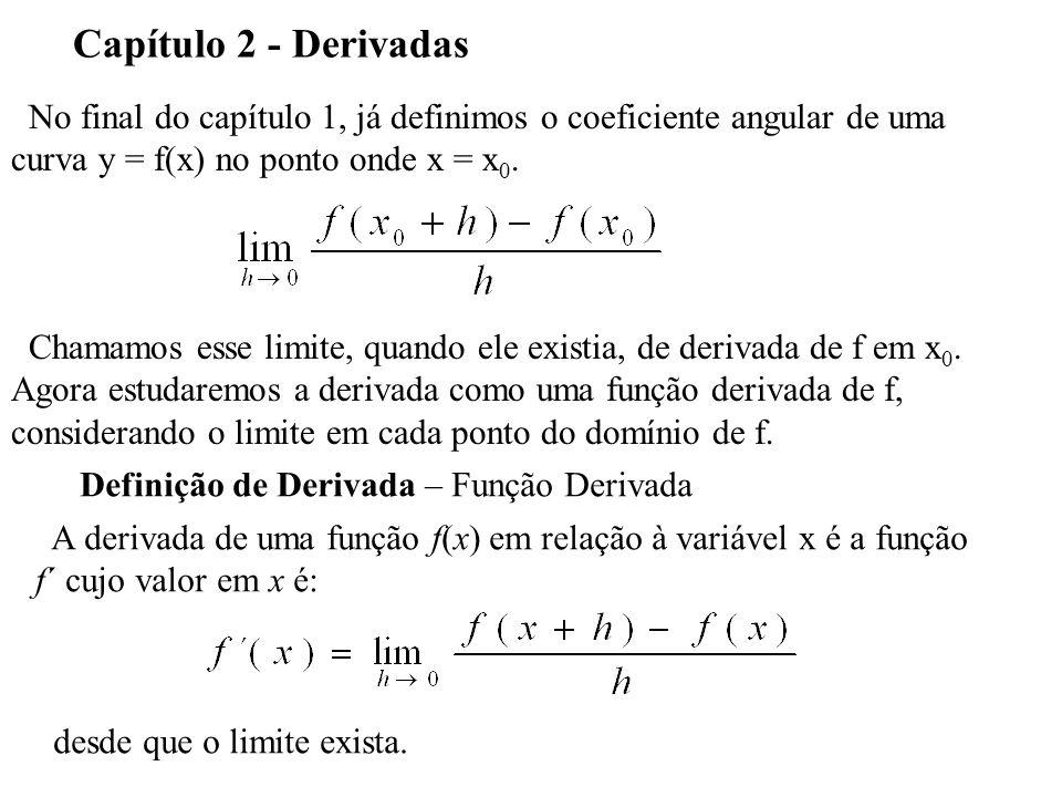 Capítulo 2 - Derivadas No final do capítulo 1, já definimos o coeficiente angular de uma. curva y = f(x) no ponto onde x = x0.