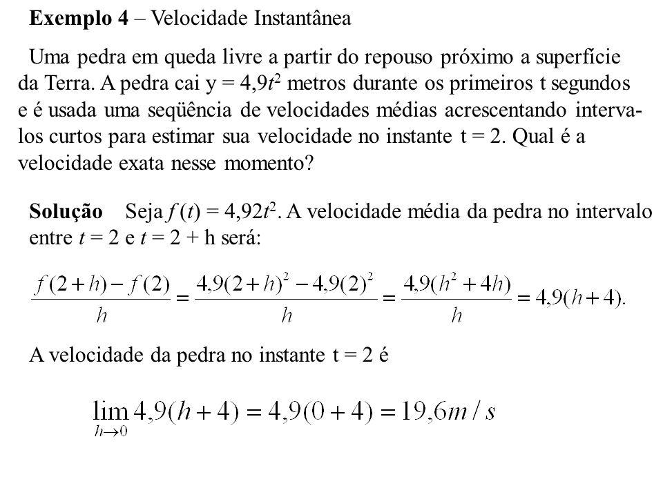 Exemplo 4 – Velocidade Instantânea