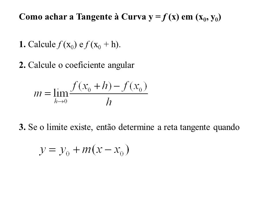 Como achar a Tangente à Curva y = f (x) em (x0, y0)